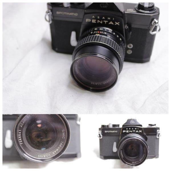 ジャンク PENTAX ASAHI SPOTMATIC SP 一眼レフカメラ2台 レンズ3本 黒 SMC Takumar 1:1.8/55 Super-Multi-Coated 1:4/200 TAKUMAR 1:1.4/50_画像6