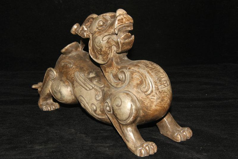 家蔵珍品 貴重 白銅精工 神獣造型 麒麟 貔貅 風水聚財 置物 稀少 開運