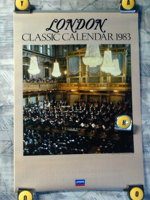 9f3【1983年カレンダー/365x515/7枚綴り】LONDON・クラシックカレンダー/Solti/Hogwood/Chailly/Pavarotti/Kyung-Wha Chung/Ashkenazy_画像1