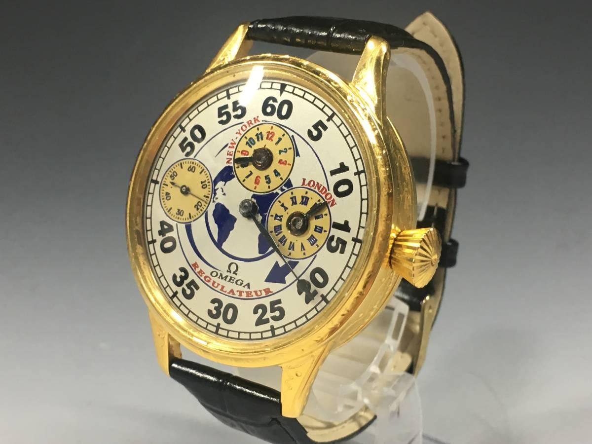 【送料無料】 オメガ omega バックスケルトン アンティーク ビンテージ ヴィンテージ 懐中 手巻き 腕時計 レギュレーター ゴールド