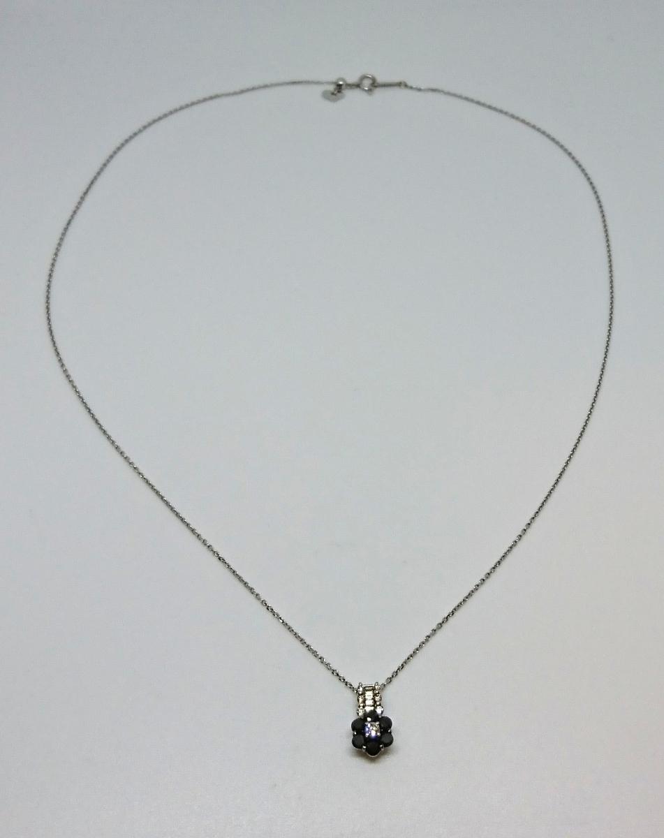 K18WG ブラックダイヤモンド ネックレス
