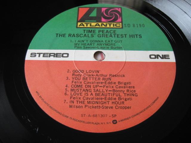 THE RASCALS' GREATEST HITS◇ラスカルズ♪TIME PEACE◇Felix Cavaliere◇'68年米盤LP!_画像4
