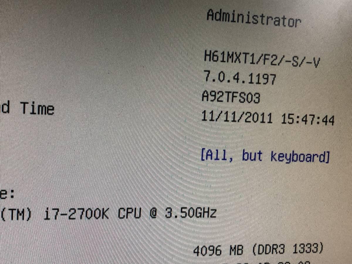 自作PC Core i7 2700k 3.5GHz FOXCONN H61MX V2.0 LGA1155 H61 MicroATX メモリ 4G グラフィック GeForce GTS250 電源 400W 中古品_画像7