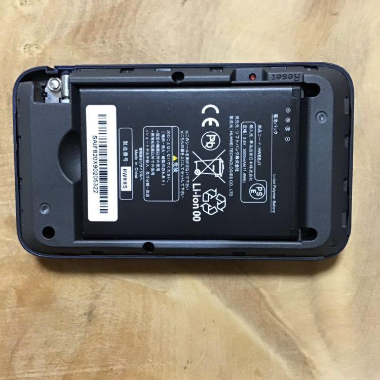 SIMロック解除済み pocket wifi 『 501HW ネイビー 』ソフトバンク au docomo YMobile 楽天 格安SIM ポケットwifi 実働品_画像4