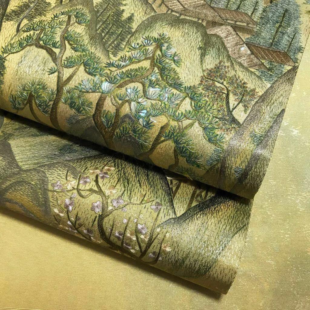 逸品 アラベスク サマルカンド美術館 螺鈿細工 手刺し刺繍 美しい風景の袋帯 引箔 未使用