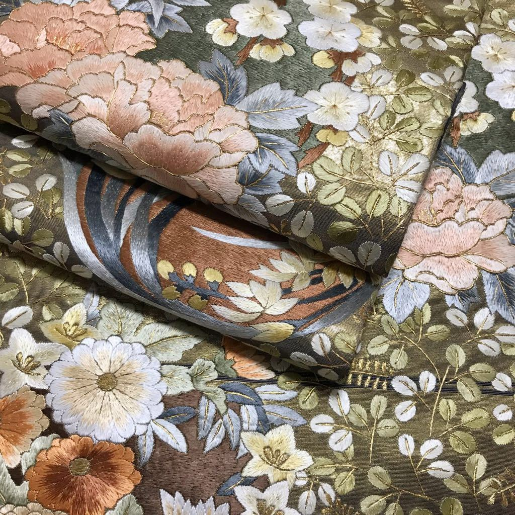 逸品 総刺繍 花尽くしの袋帯 蘇州刺繍 引箔 未使用品 正絹 金糸