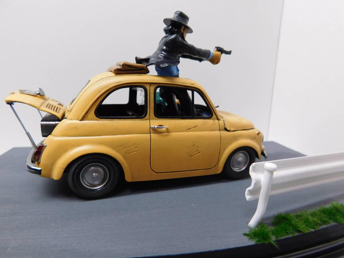 フィアット500 ルパン三世&次元 カリオストロの城 追跡 グンゼ 絶版プラモデル改造塗装済 完成品クリアケース入 フィギュア FIAT ABARTH_画像3