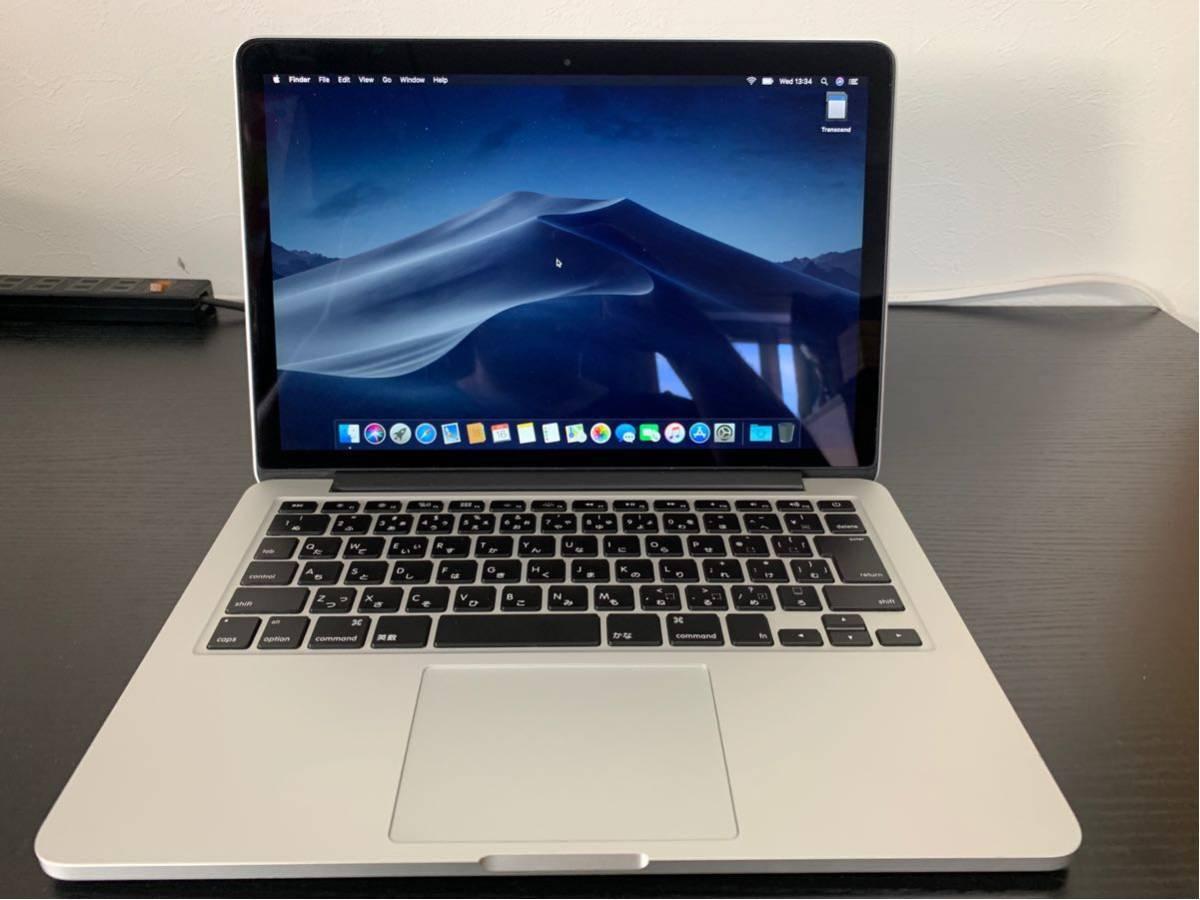 """「中古」送料無料!!! Macbook Pro Late 2013 13"""" a1502 2.4GHz intel core i5 メモリ8GB SSD 512GB MacOS Mojave"""