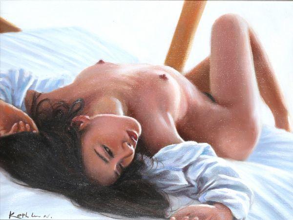 油絵 人物画『Be My Last』Kathleen.N作 肉筆1点物 ※額に小傷有り 女性 ヌード 裸婦 セクシー 美女 モデル J11-N5_画像2