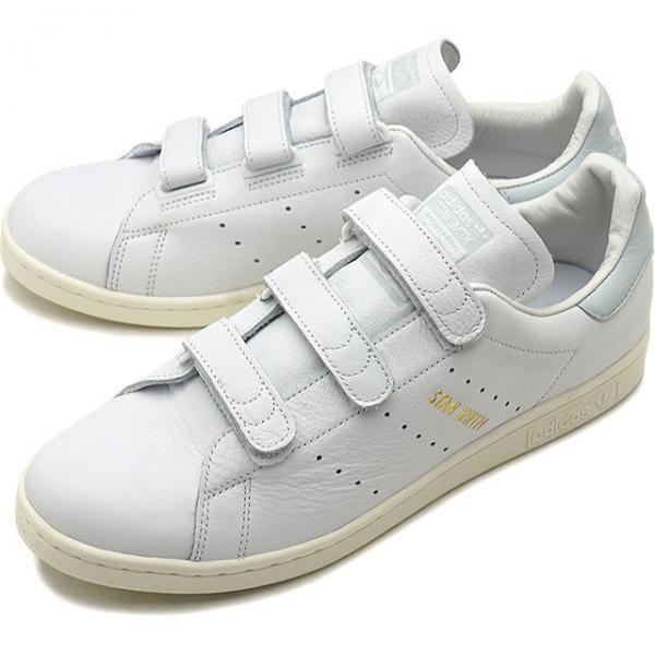 【新品 即日発送】 adidas originals STAN SMITH アディダス スタンスミス ベルクロ 金ロゴ ホワイト ブルーティント 26.5cm