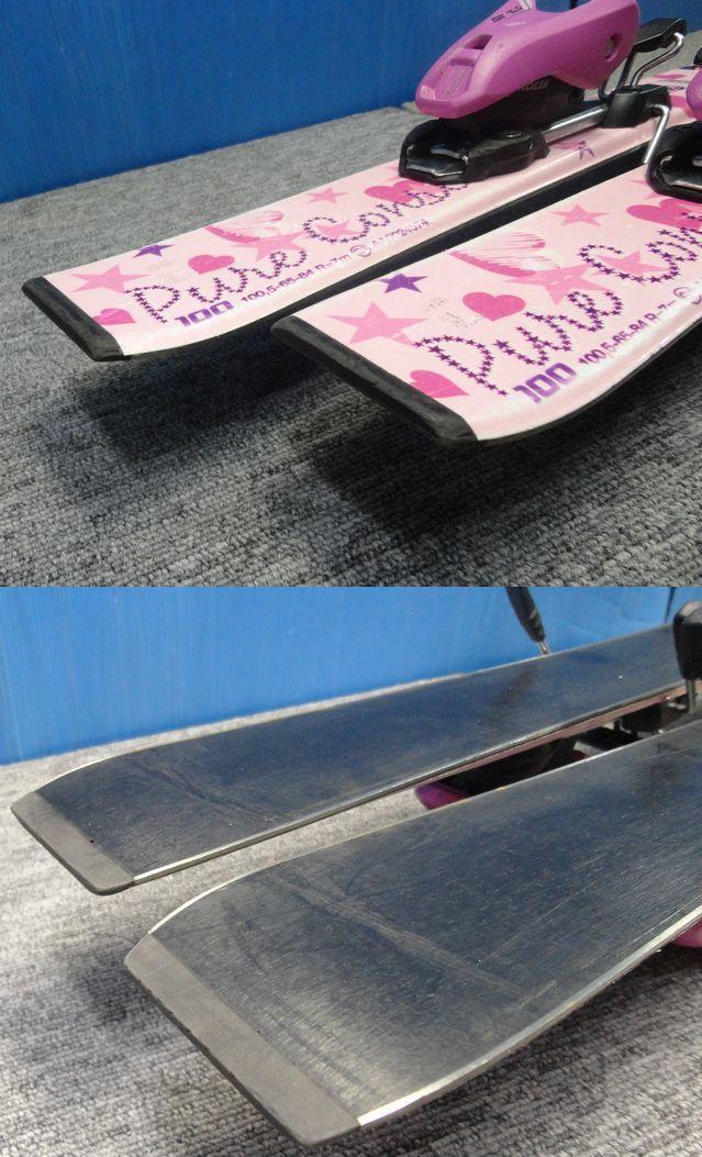 【YU468】PURECONSCIOUS ピュアコンシャス ジュニアスキー板ビンディングセット 全長95.5cm ピンク ハート スポーツ ウィンター スキー場 _画像5