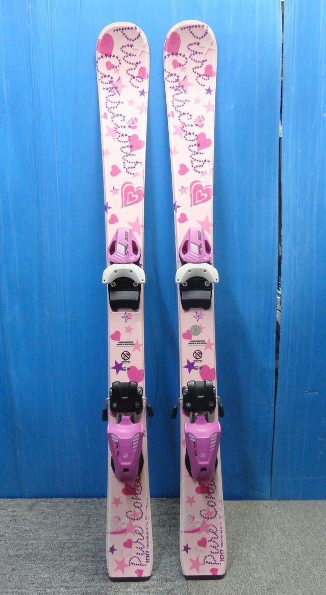 【YU468】PURECONSCIOUS ピュアコンシャス ジュニアスキー板ビンディングセット 全長95.5cm ピンク ハート スポーツ ウィンター スキー場 _画像1
