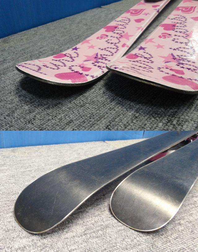 【YU468】PURECONSCIOUS ピュアコンシャス ジュニアスキー板ビンディングセット 全長95.5cm ピンク ハート スポーツ ウィンター スキー場 _画像4