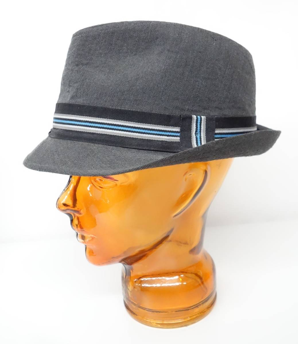 35c77124a098 代購代標第一品牌- 樂淘letao - Calvin Klein カルバンクライン*中折れ帽ソフトハットL/XL  *お色グレー系ヘリンボーンストライプ*ロゴ総柄裏地