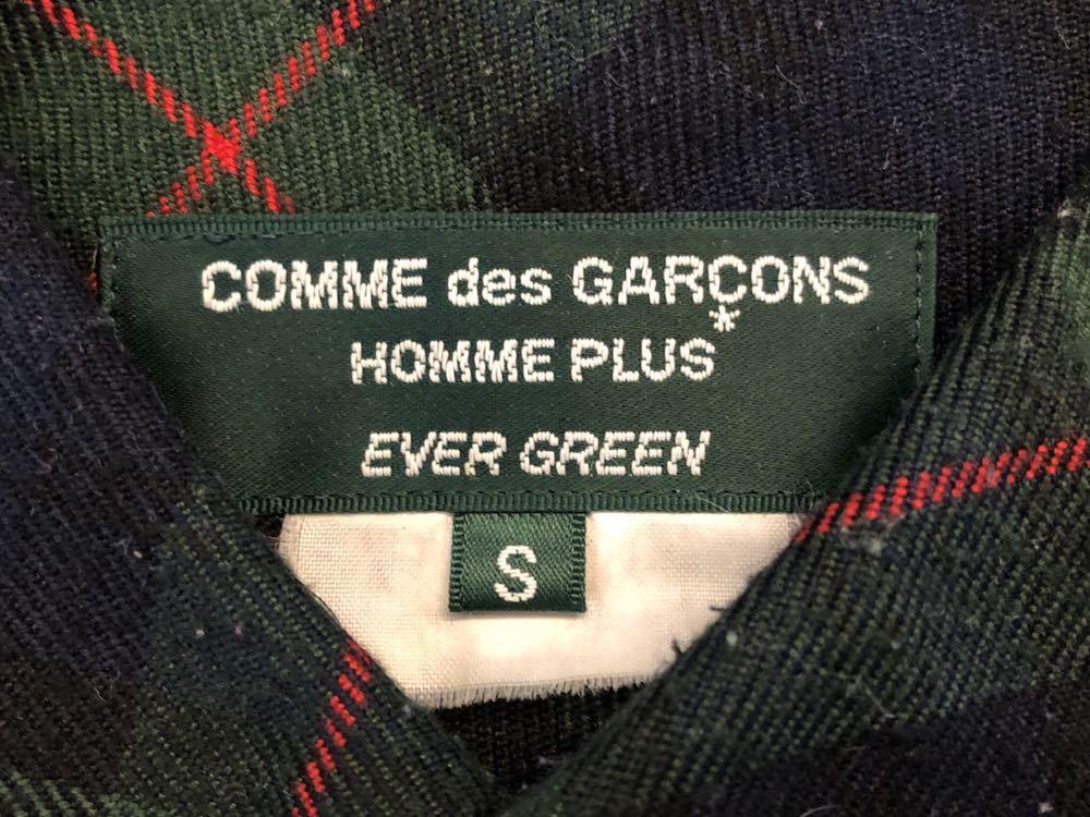 美★COMME des GARCONS HOMME PLUS EVER GREEN★チェック長袖ネルシャツ切替★コムデギャルソンオムプリュス_画像3