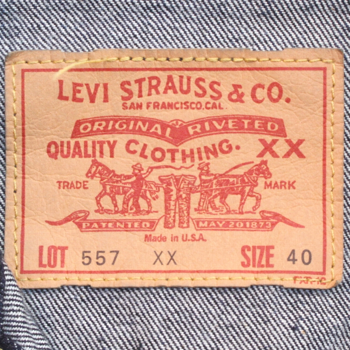 (yk80112)希少美品LEVI'Sリーバイス557XX米国製サイズ40 (BIG'E' ヴィンテージ復刻 99年製 70557-0006 サード デニム ジャケット )_画像4
