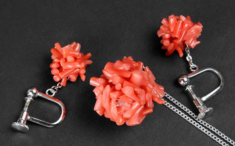 【梟】天然珊瑚 ペンダントとイヤリング セット 赤サンゴ 桃色珊瑚 枝珊瑚 コーラル ネックレス アクセサリーセット ペア 2点セット ピンク_画像2