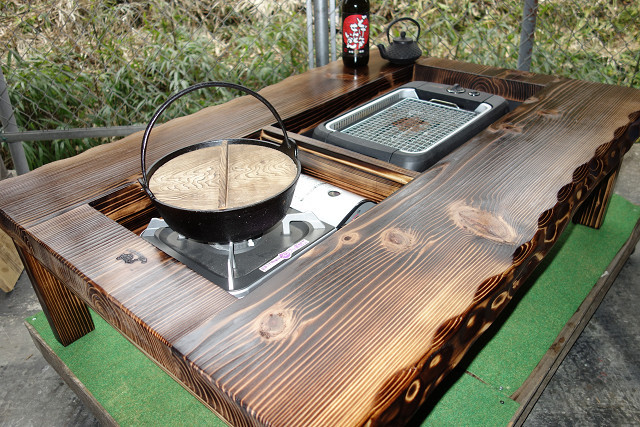囲炉裏テーブル「E-152」 (コンロ等スペース2炉欲張りタイプ)おこぜ夢工房の田舎作り一点物_画像1
