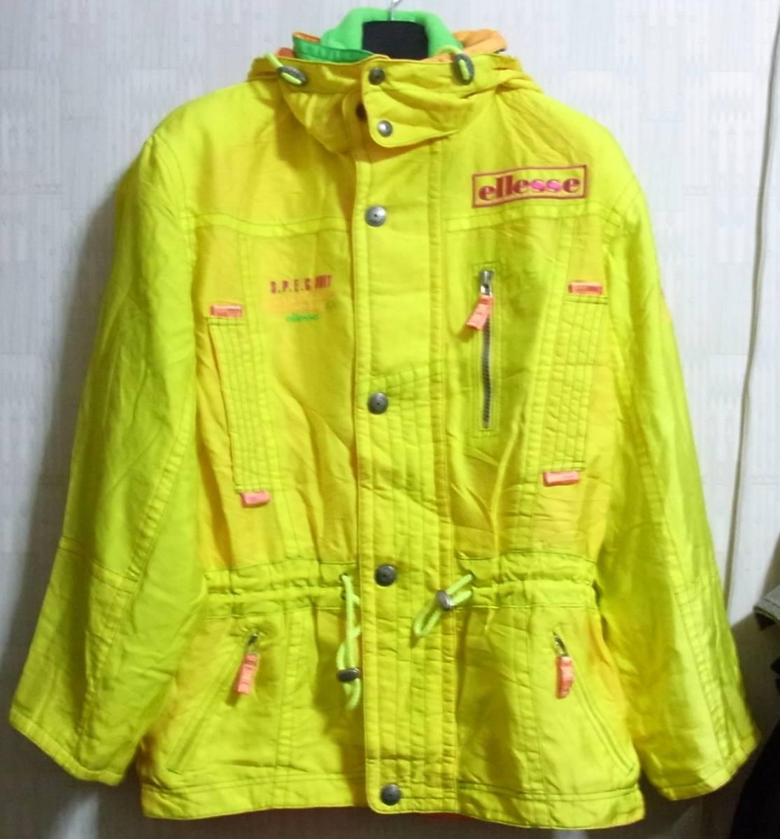 ellesse エレッセ スキーウェア 上下 ジャケット スキーパンツ イエロー ホワイト 黄 白