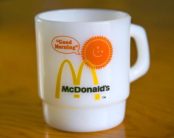 美品! ファイヤーキング マグ マクドナルド マック スタッキング 耐熱 ミルクグラス コーヒー ビンテージ カップ