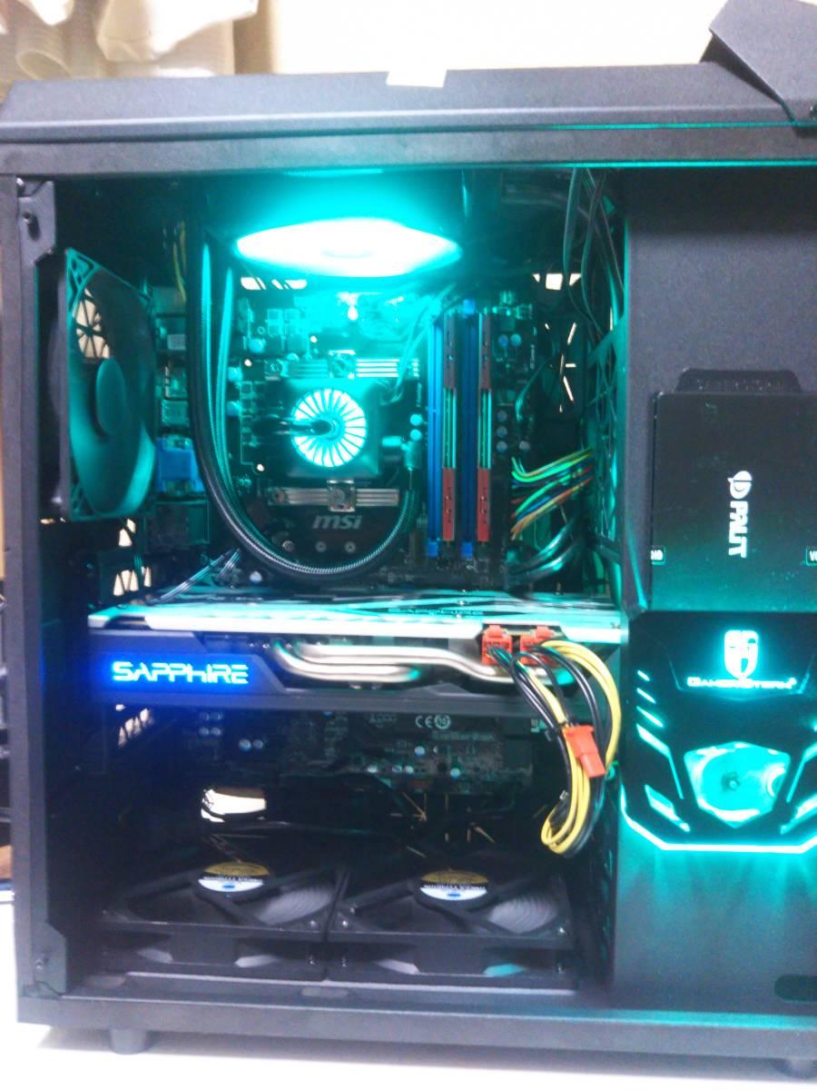自作ゲーミング Gaming PC 水冷専用ケース MSI Z97S01 Core i7 4790 SSD240G Sapphire Radeon RX570 8Gメモリ windows10 VMあり_画像3