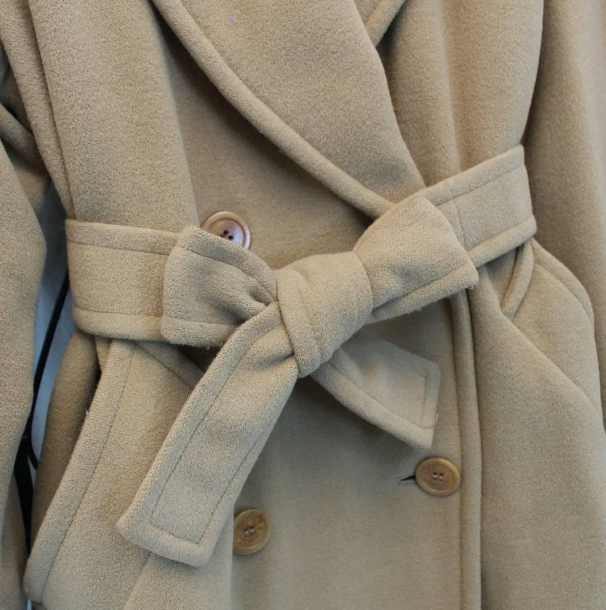 MARELLA ANGORA BREND WOOL BELTED COAT MADE IN ITALY/マレーラアンゴラ混ウールベルテッドコート_画像4