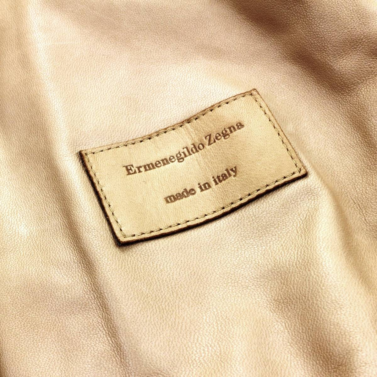 ラグジュアリーの極み◎!!!「エルメネジルドゼニア/Zegna」定価70万 最高級仔羊革ラムスキンを贅沢に使用した至極のレザーブルゾン 50XL_画像7