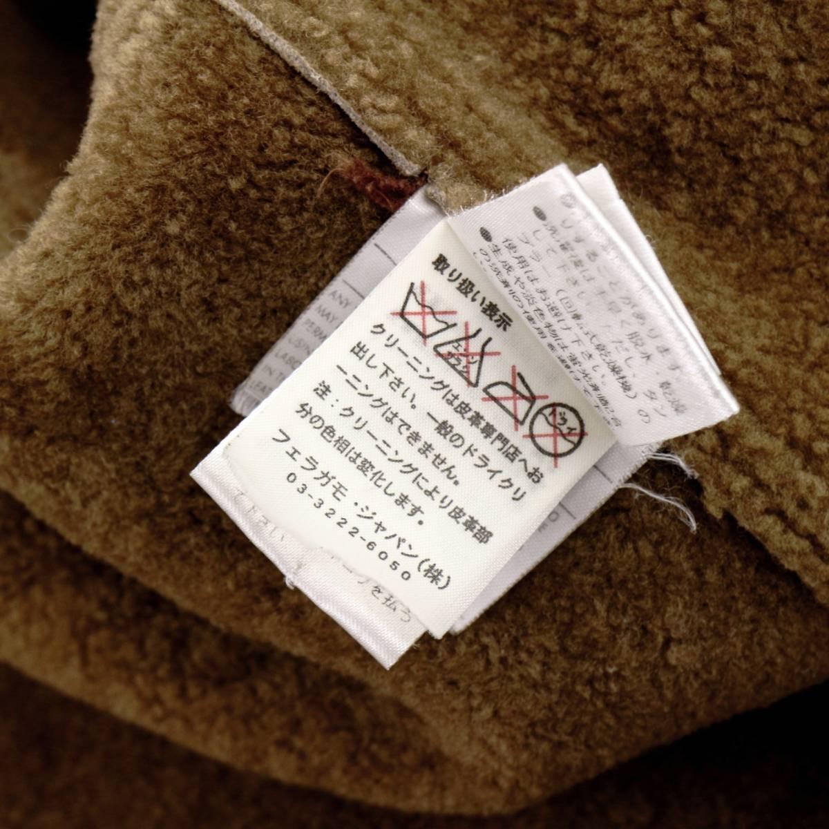 男の格上げ◎!!!「サルヴァトーレフェラガモ」最高級羊革ラムスキンを贅沢に使用したラグジュアリー溢れる至高のムートンコート 52 XL_画像9