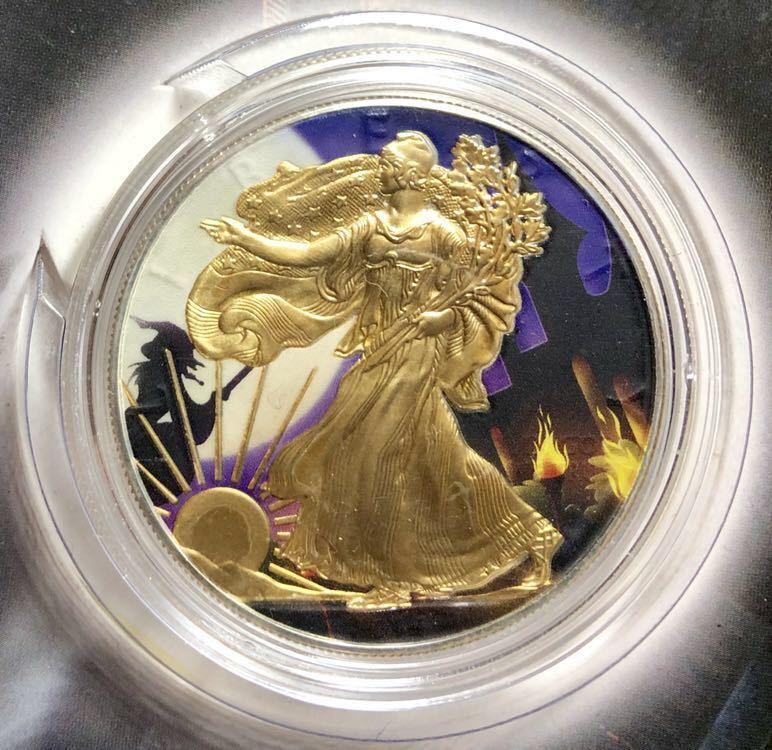 1円~!!2014年 アメリカ シルバーイーグル 1ドル銀貨 Haunted Design Series 純銀 約31g 24K 金 gilding