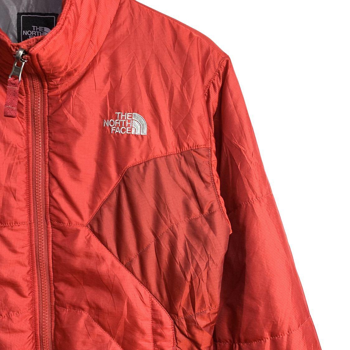 ■THE NORTH FACEノースフェイスナイロン中綿ジャケットサイズS赤レッド古着アウトドア■_画像3
