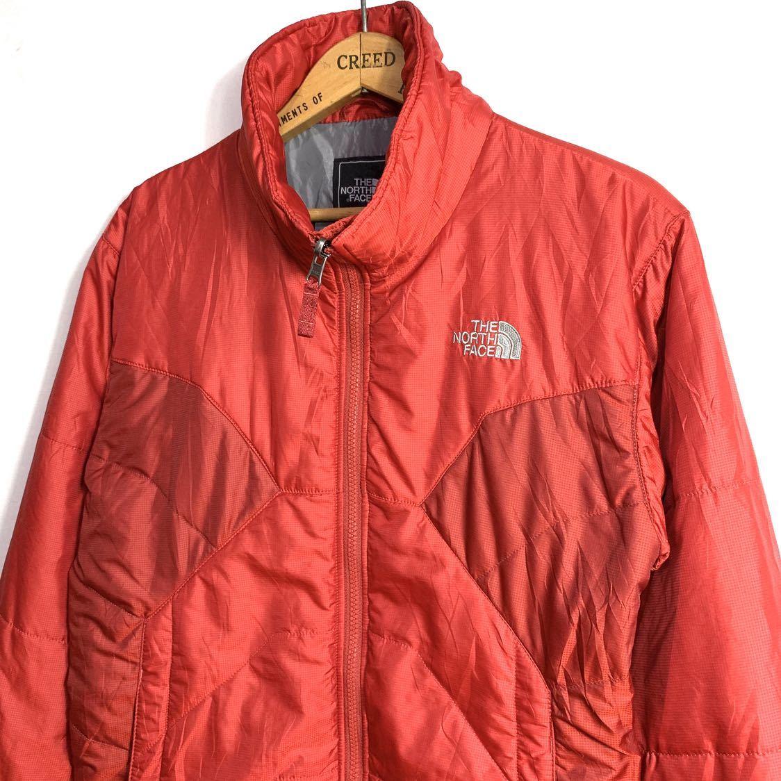 ■THE NORTH FACEノースフェイスナイロン中綿ジャケットサイズS赤レッド古着アウトドア■_画像2