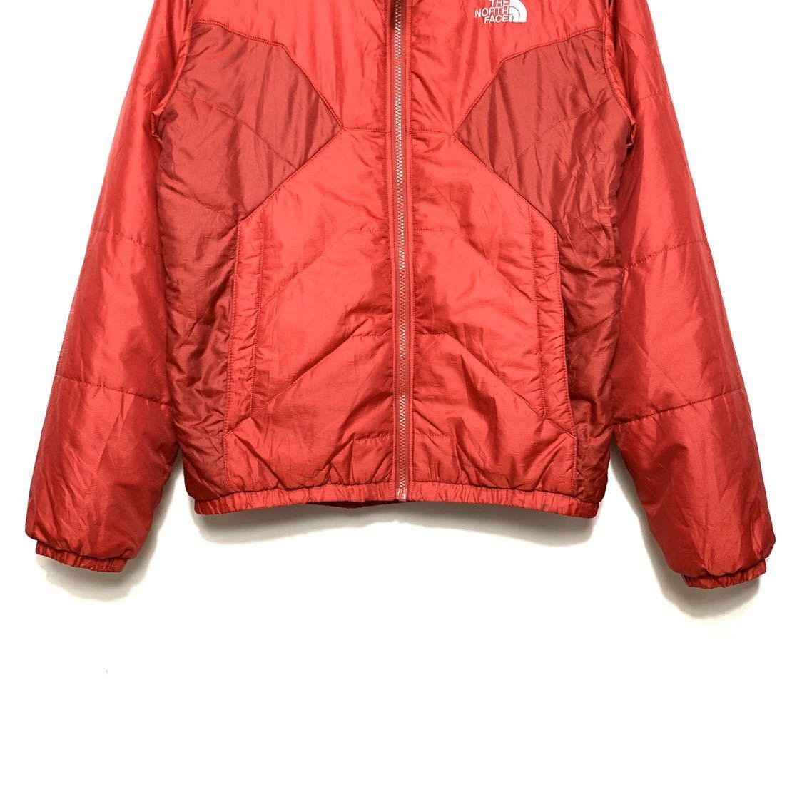 ■THE NORTH FACEノースフェイスナイロン中綿ジャケットサイズS赤レッド古着アウトドア■_画像4
