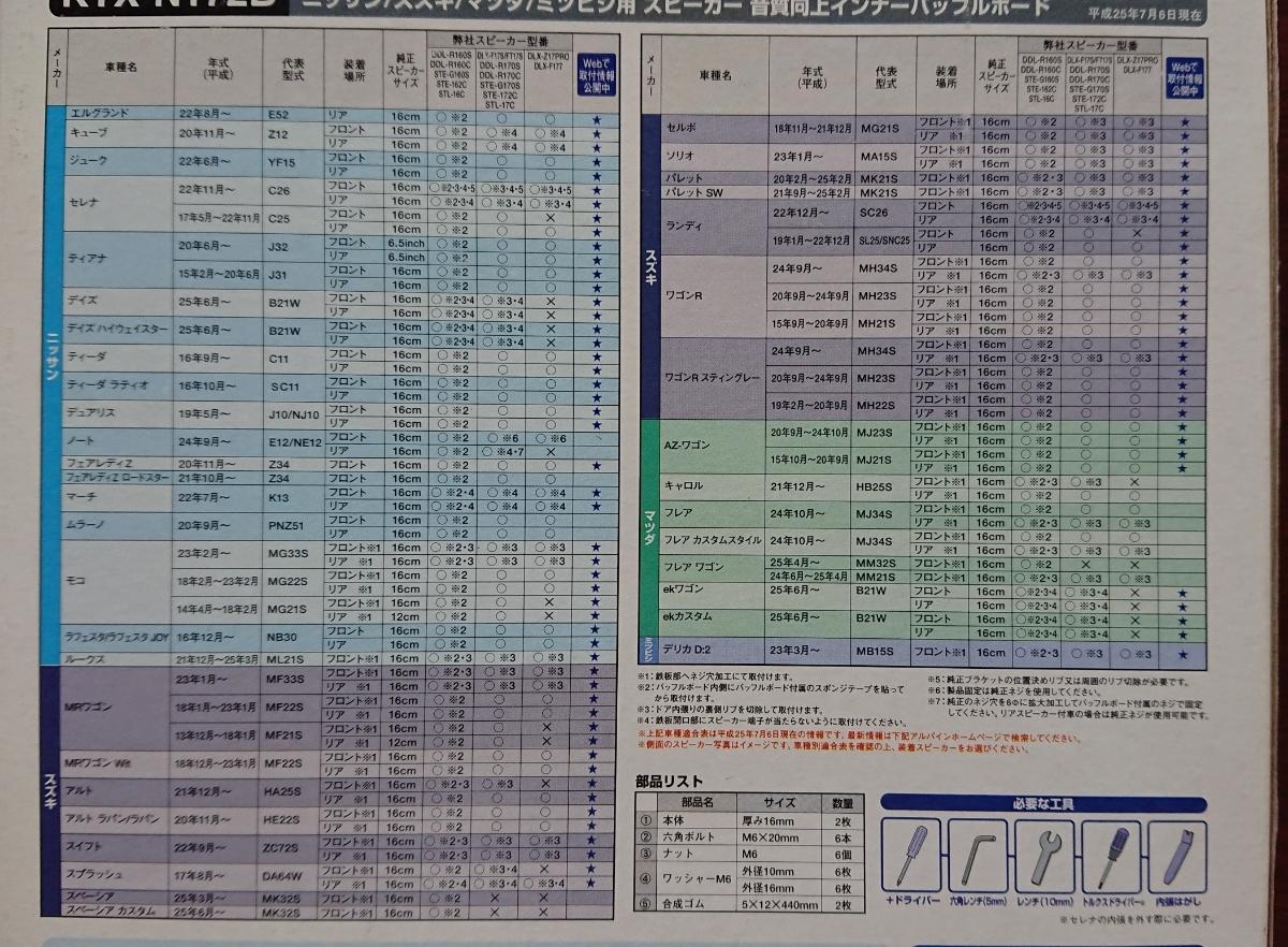 ☆アルパイン インナーバッフルボード KTX-N172B日産車対応☆_画像2