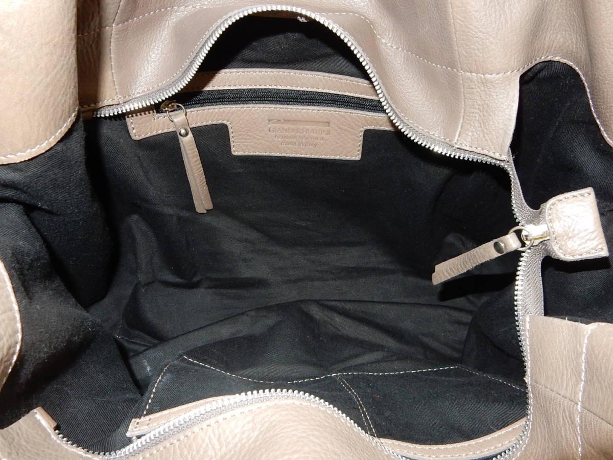 イタリア製☆本革☆GIANNI CHIARINI(ジャンニ キャリーニ)A4対応☆トートバッグ シャンピニョン_画像9