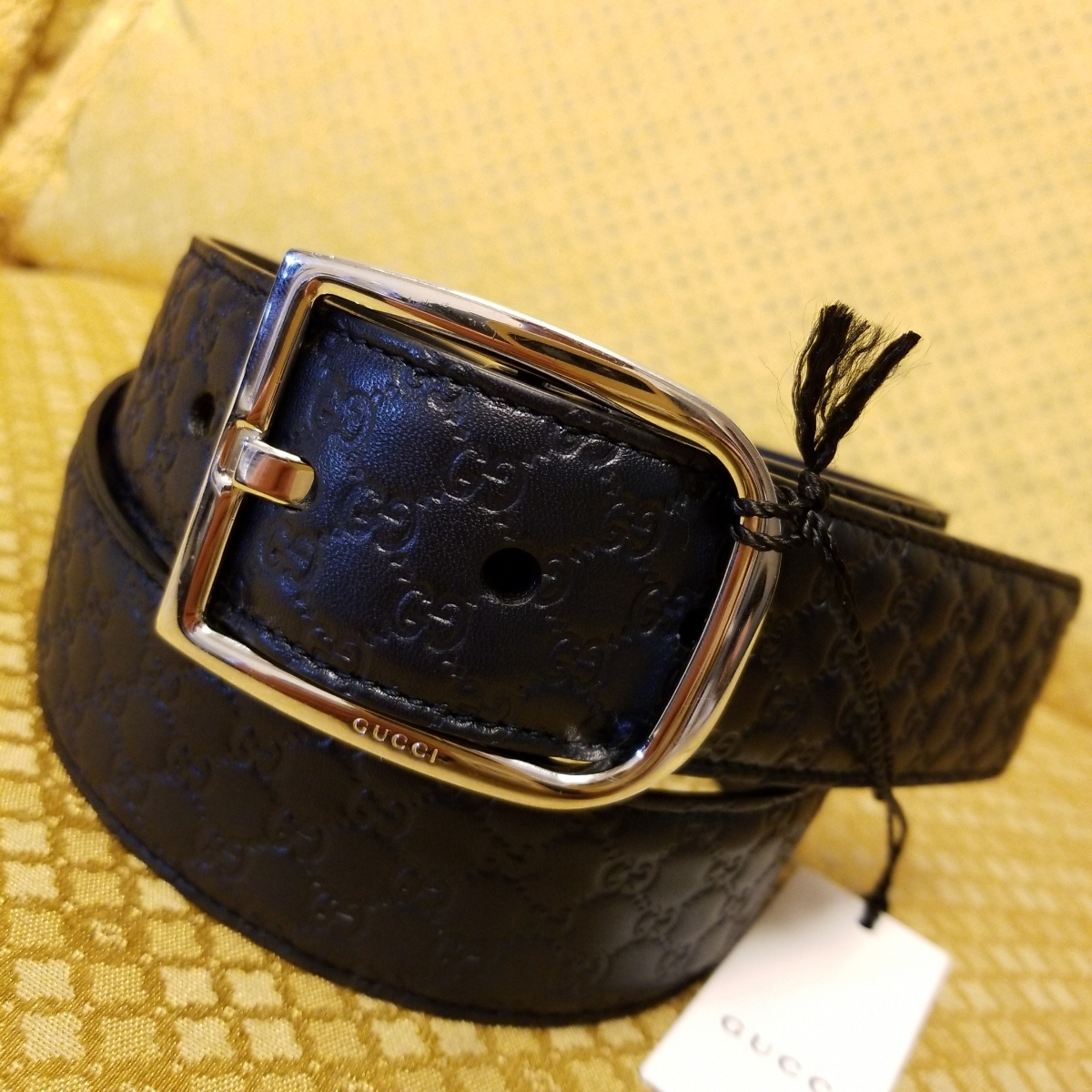 eec5c77f0388 tag equipped GUCCI Gucci men's GG type pushed .signachua- leather belt black  85cm 2019 year buy reference price 6 ten thousand