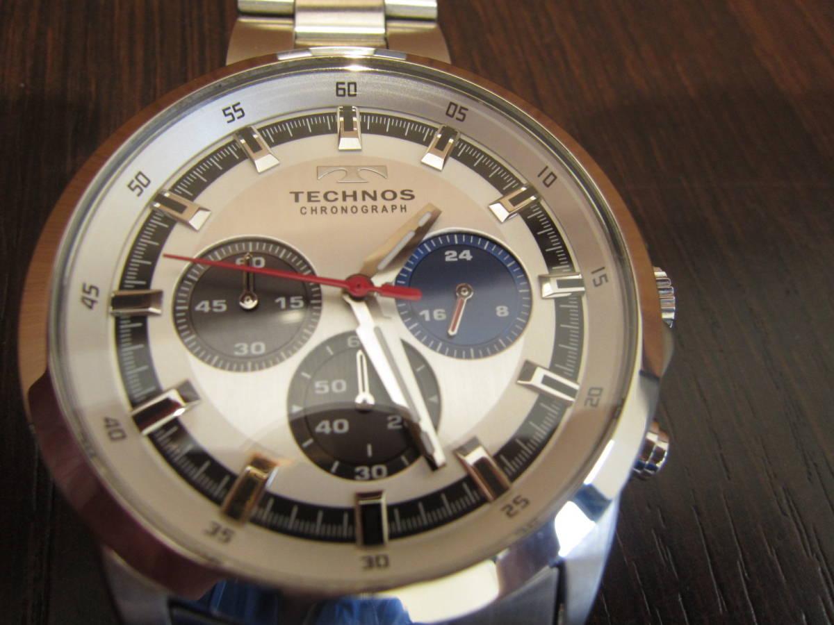 TECHNOS テクノス クロノグラフ メンズ腕時計 T4487 稼働品★c3118_画像6