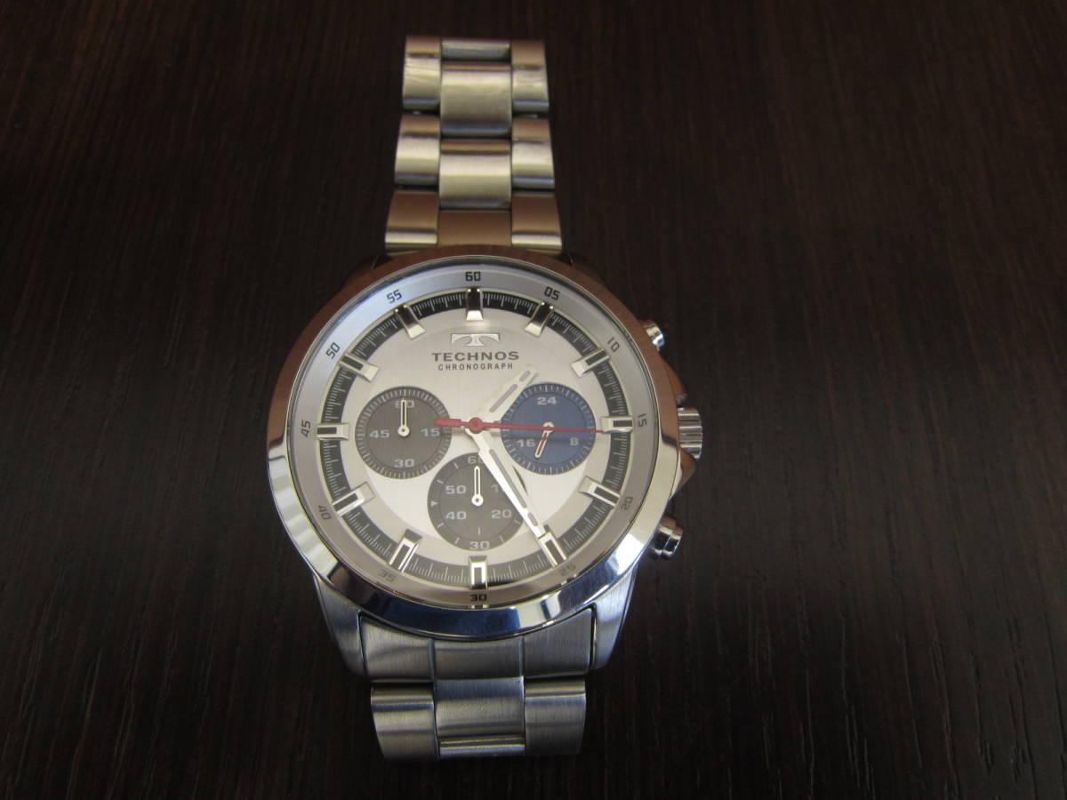 TECHNOS テクノス クロノグラフ メンズ腕時計 T4487 稼働品★c3118_画像1