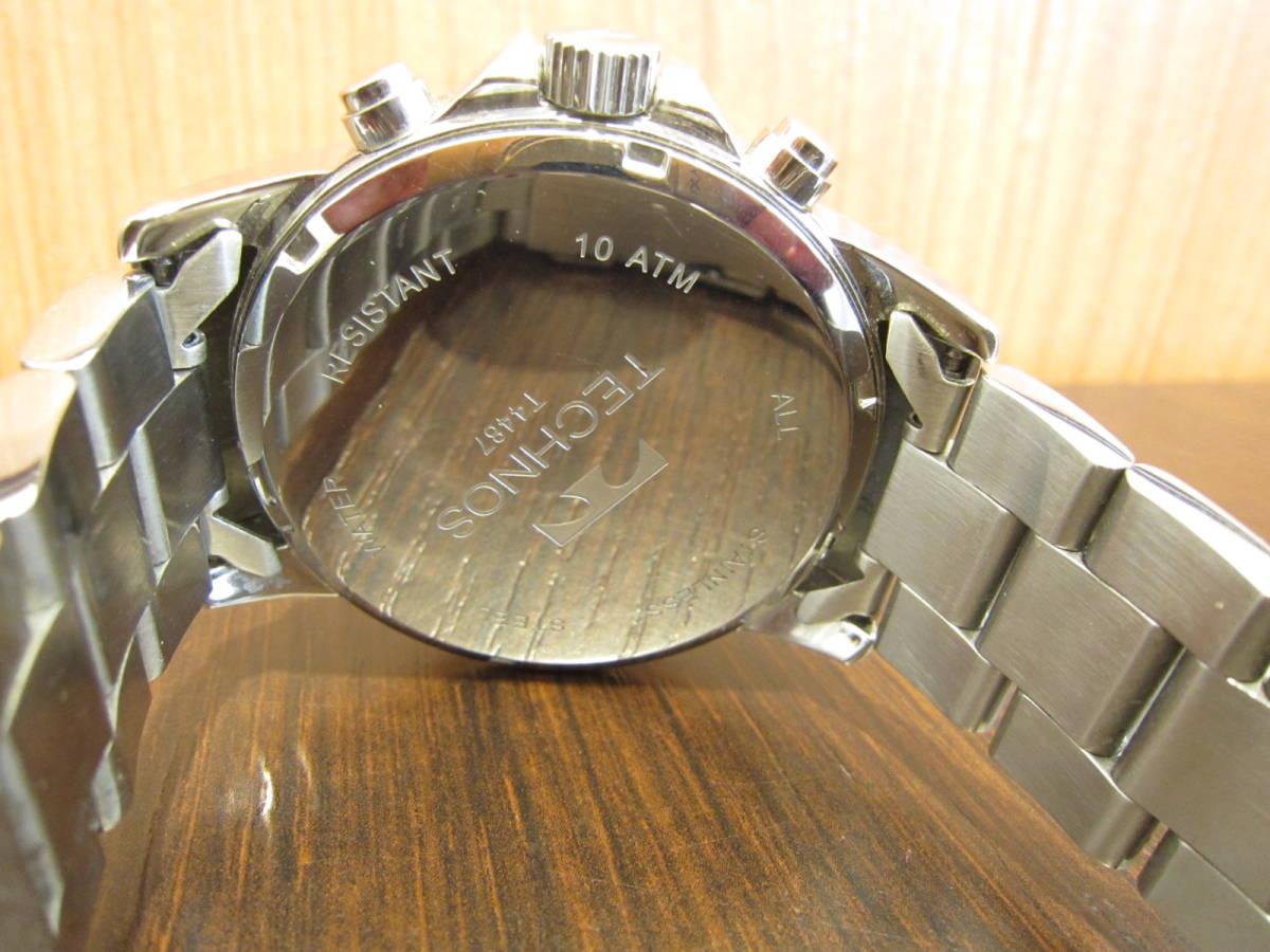 TECHNOS テクノス クロノグラフ メンズ腕時計 T4487 稼働品★c3118_画像4
