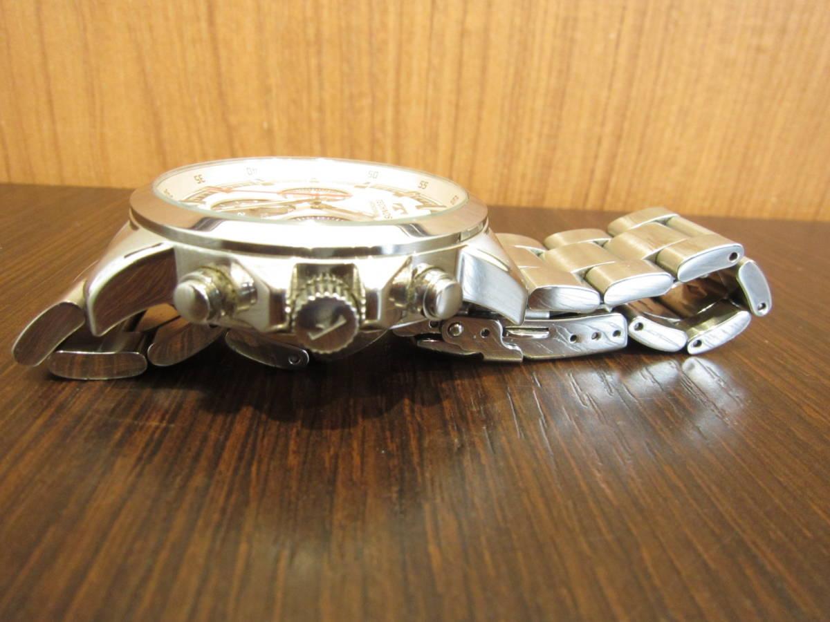 TECHNOS テクノス クロノグラフ メンズ腕時計 T4487 稼働品★c3118_画像2