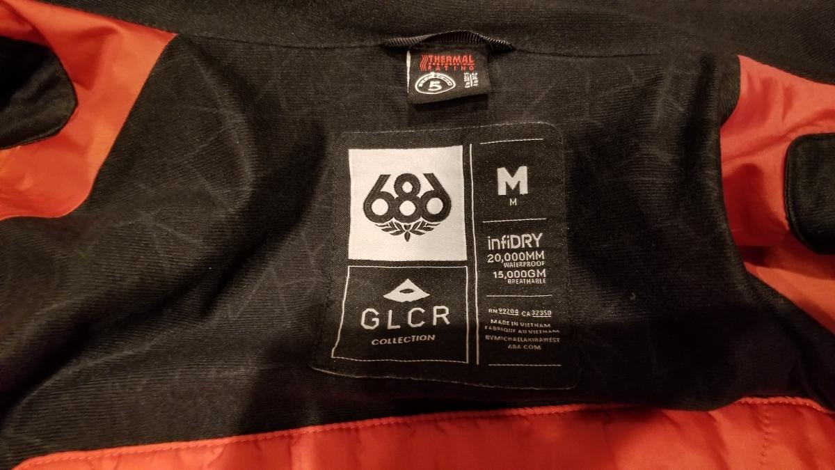 中古 686 GLCR ジャケット スノーボード アメリカMサイズ 日本Lサイズ_画像5