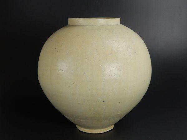 古美術 朝鮮古陶磁器 李朝白磁 特大 提灯壷 満月壺 高さ36㎝ 時代物 古作 極上品 初だし