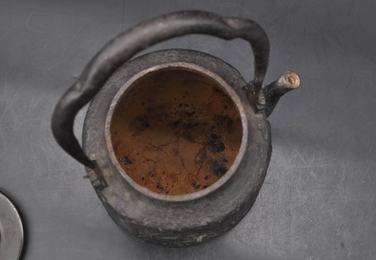 「恒」龍文堂造 鉄瓶 花木月猴紋 象嵌 在銘 銅蓋 時代煎茶道具 急須 湯沸 YK19071