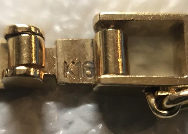 K18 YG ダイヤ 0.06ct 7.3g ブレスレット 18.5cm_画像5