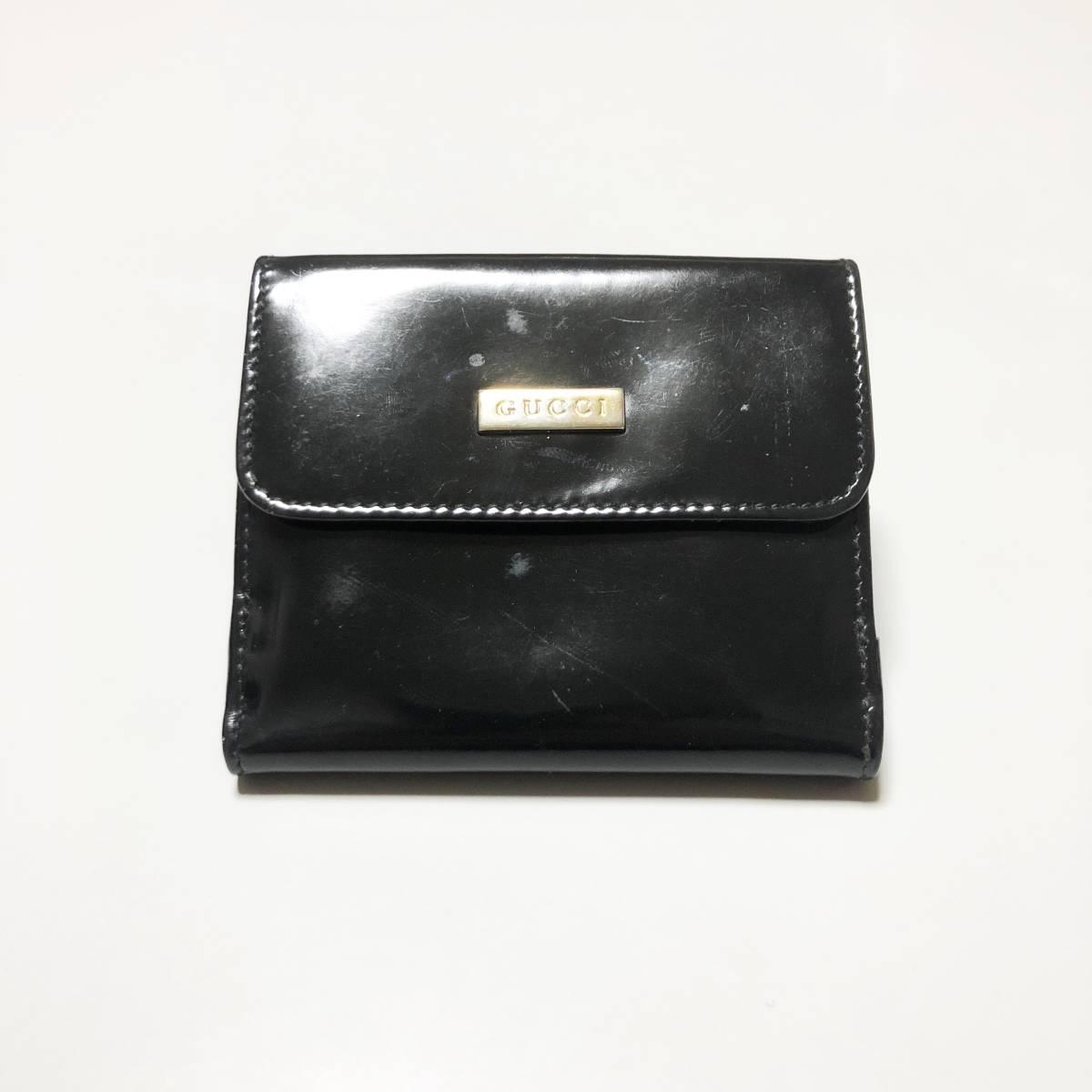 01248602e33f 代購代標第一品牌- 樂淘letao - GUCCI グッチ折りたたみ財布エナメル黒