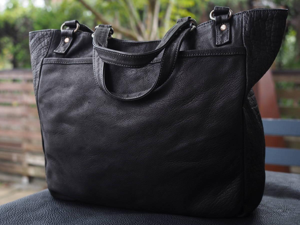 Cantara刻印有 カンターラ 天然バッファロー レザー トートバッグ ショルダーバッグ 黒 ブラック 1円◆送料無料