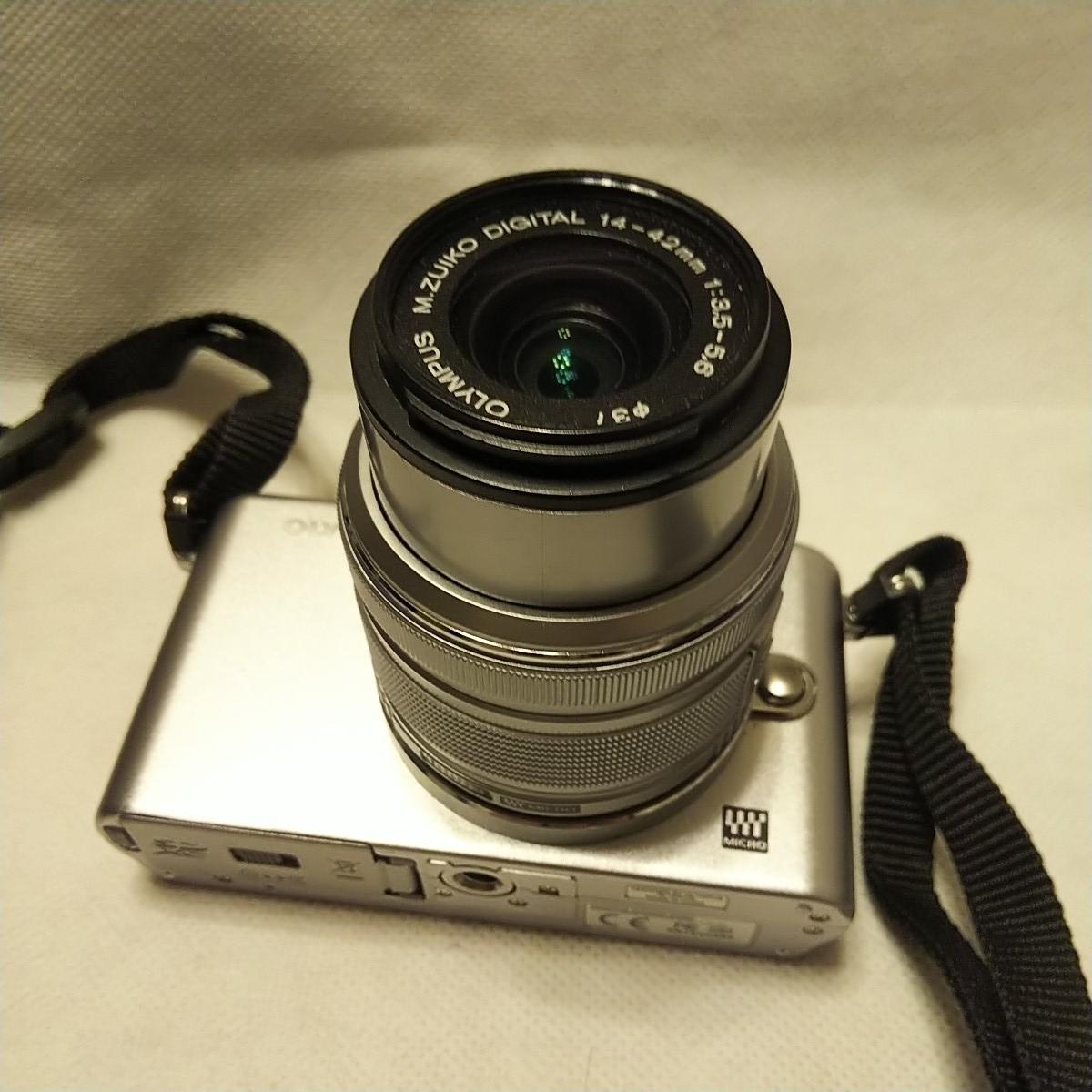 オリンパス E-PM1 デジタル一眼 レンズ フラッシュ付き FL-LM1 M.ZUIKO 14-42mm 1:3.5-5.6 π37mm ズームレンズキット YOKO-63 完動品 美品_画像5