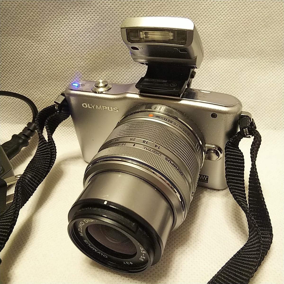 オリンパス E-PM1 デジタル一眼 レンズ フラッシュ付き FL-LM1 M.ZUIKO 14-42mm 1:3.5-5.6 π37mm ズームレンズキット YOKO-63 完動品 美品_画像2