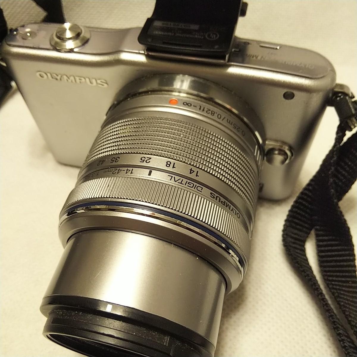 オリンパス E-PM1 デジタル一眼 レンズ フラッシュ付き FL-LM1 M.ZUIKO 14-42mm 1:3.5-5.6 π37mm ズームレンズキット YOKO-63 完動品 美品_画像4