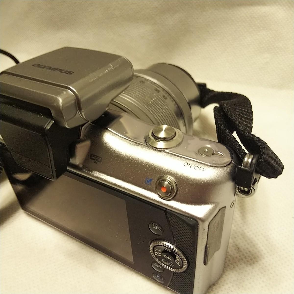 オリンパス E-PM1 デジタル一眼 レンズ フラッシュ付き FL-LM1 M.ZUIKO 14-42mm 1:3.5-5.6 π37mm ズームレンズキット YOKO-63 完動品 美品_画像9