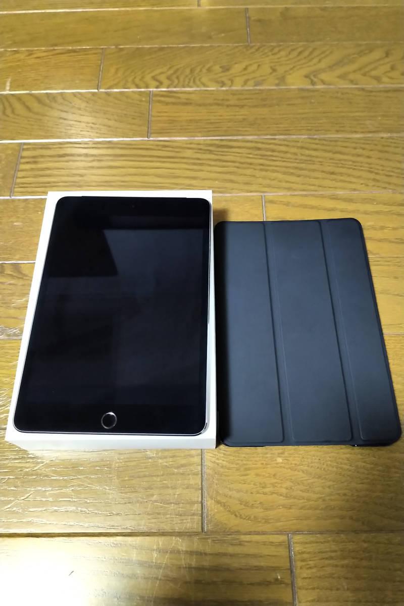 新品同様美品 iPad mini 4 Wi-Fi+Cellular 128GB MK762J/A SIMフリー スペースグレイ 社外ケース付き 送料無料